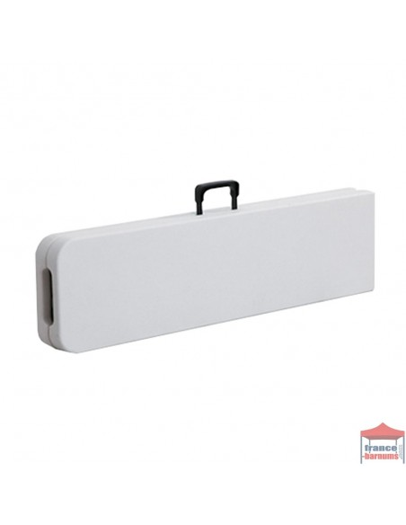 Banc pliant en valise 183cm en polyéthylène blanc