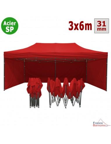 Barnum pliant - Tonnelle Acier Semi Pro 3mx6m ROUGE avec Pack 4 Côtés