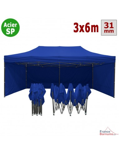 Barnum pliant - Tonnelle Acier Semi Pro 3mx6m BLEU avec Pack 4 Côtés