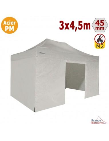 Barnum Pliant - Stand Acier Premium M2 3x4,5m BLANC + Pack Côtés 380gr/m²