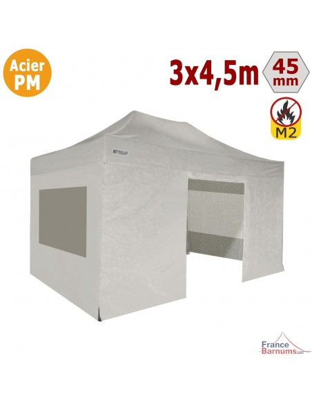 Barnum Pliant - Stand Acier Premium M2 3x4,5m BLANC + Pack Fenêtres 380gr/m²