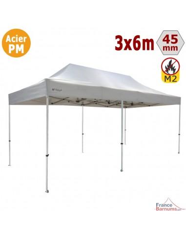 Barnum Pliant - Stand Acier Premium M2 3x6m BLANC 380gr/m²