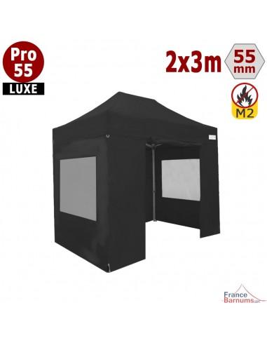 Stand pliant professionnel noir 2x3 avec bâches fenêtres en PVC