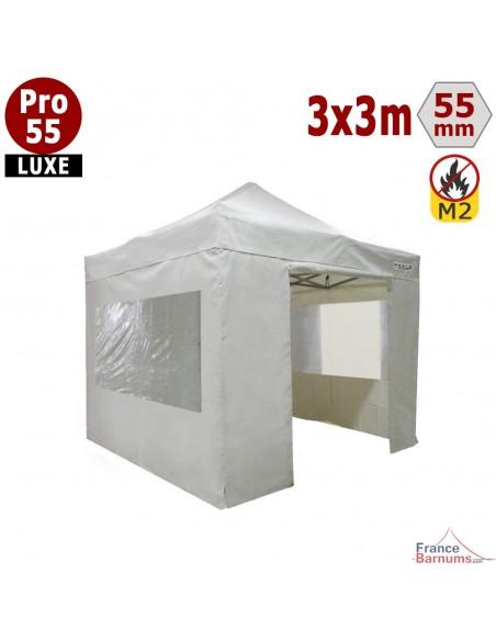 Tente pliante Alu Pro 55 blanc 3x3m avec murs fenêtres en PVC