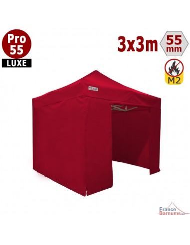 Barnum pliant Alu Pro 55 Rouge  3x3m avec murs pleins