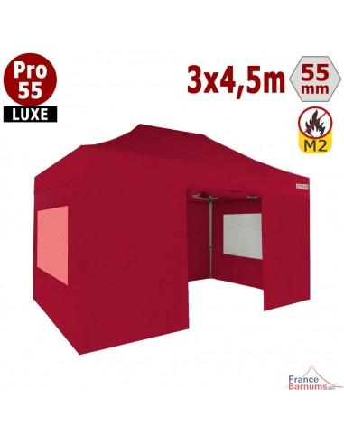Barnum pliant 3x4,5m Alu Pro 55 rouge avec fenêtres PVC
