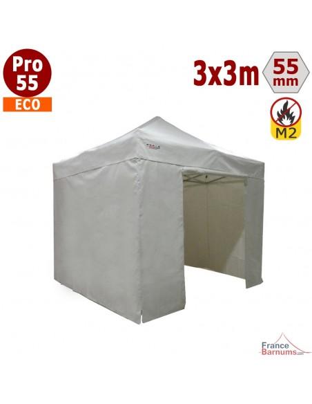 Barnum pliant Alu Pro 55 blanc 3x3m avec murs pleins