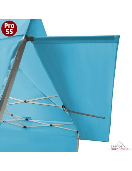 Casquette extension soleil Turquoise de 4m pour barnum pliant Hexa 55 en PVC 580g