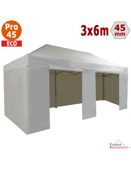 Barnum pliant - Tente pliante Alu Pro 45 ECO 3mx6m BLANC avec Pack 4 Côtés