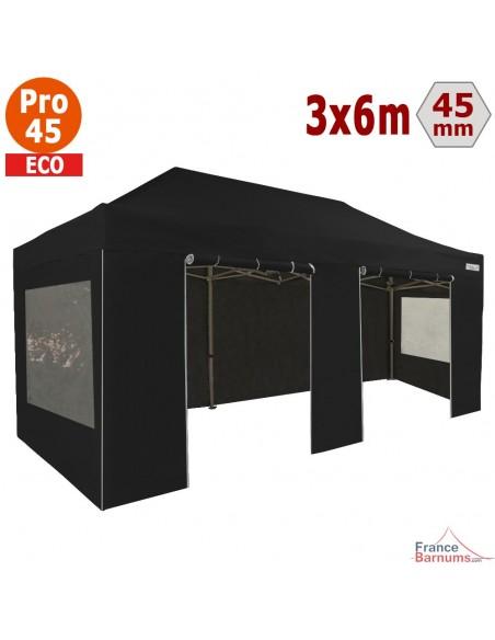 Barnum pliant - Tente pliante Alu Pro 45 ECO 3mx6m NOIR avec Pack Fenêtres