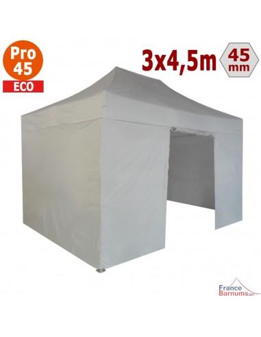 Barnum pliant - Tente pliante Alu Pro 45 ECO 3mx4,5m BLANC avec Pack 4 Côtés