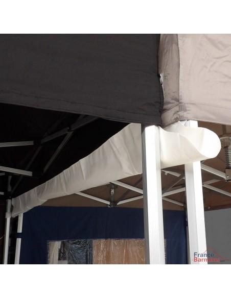 Gouttière en PVC 580gr/m² pour barnum pliant à fixer par bandes de velcro sur les bandeaux de la bâche de toit