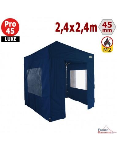 Barnum pliant - Stand pliant Alu Pro 45 LUXE M2 2,4mx2,4m BLEU + Pack Fenêtres 380gr/m²