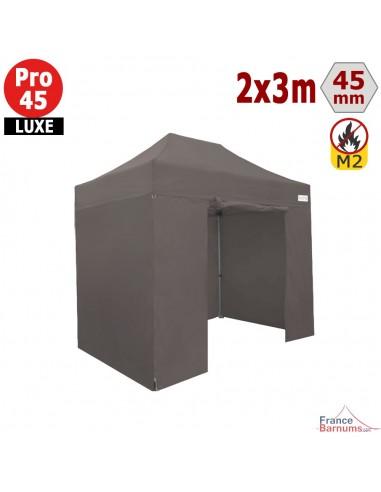 Barnum pliant - Stand pliant Alu Pro 45 LUXE M2 2mx3m TAUPE + Pack Côtés 380gr/m²