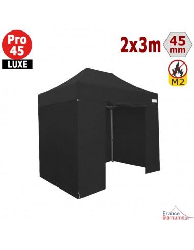 Barnum pliant - Stand pliant Alu Pro 45 LUXE M2 2mx3m NOIR + Pack Côtés 380gr/m²