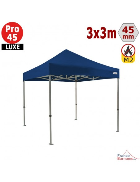Barnum pliant - Stand pliant Alu Pro 45 LUXE M2 3mx3m BLEU 380gr/m²