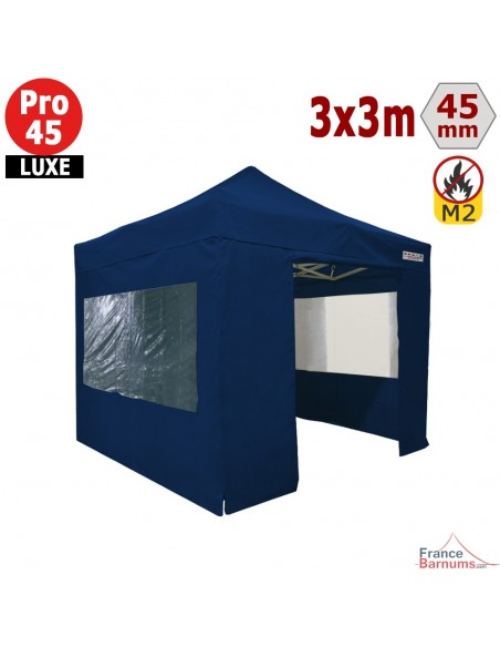 Barnum pliant - Stand pliant Alu Pro 45 LUXE M2 3mx3m BLEU + Pack Fenêtres 380gr/m²