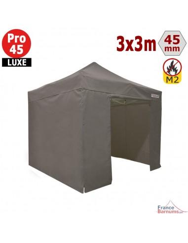 Barnum pliant - Stand pliant Alu Pro 45 LUXE M2 3mx3m TAUPE + Pack Côtés 380gr/m²