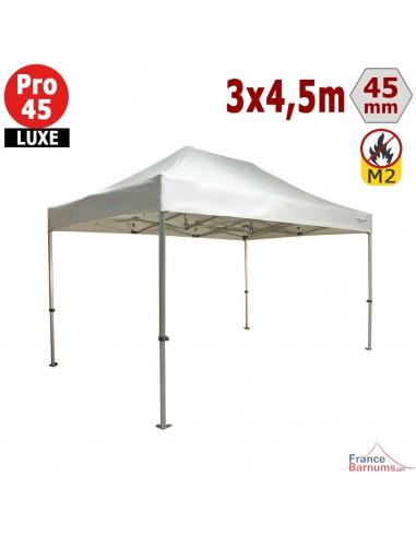 Barnum pliant - Stand pliant Alu Pro 45 LUXE M2 3mx4,5m BLANC 380gr/m²