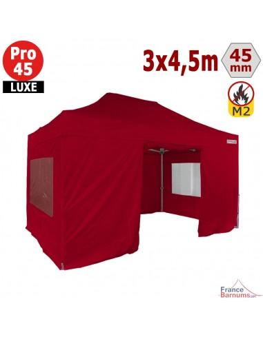 Barnum pliant - Stand pliant Alu Pro 45 LUXE M2 3mx4,5m ROUGE + Pack Fenêtres 380gr/m²