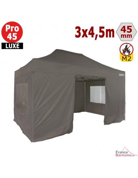 Barnum pliant - Stand pliant Alu Pro 45 LUXE M2 3mx4,5m TAUPE + Pack Fenêtres 380gr/m²