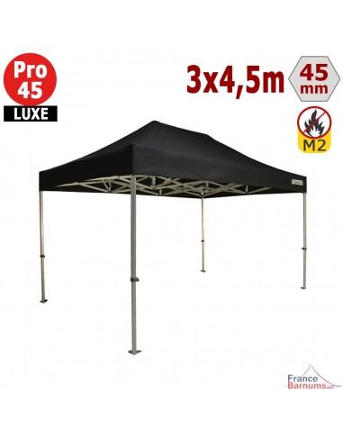 Barnum pliant - Stand pliant Alu Pro 45 LUXE M2 3mx4,5m NOIR 380gr/m²