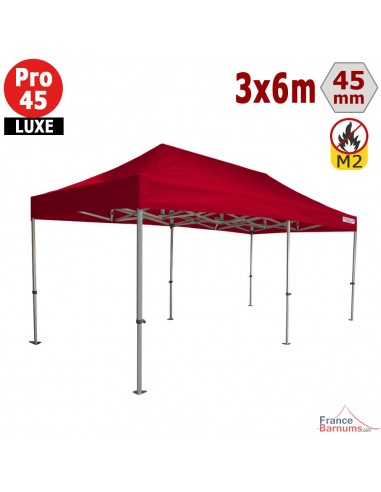 Barnum pliant - Stand pliant Alu Pro 45 LUXE M2 3mx6m ROUGE 380gr/m²