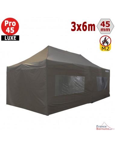 Barnum pliant - Stand pliant Alu Pro 45 LUXE M2 3mx6m TAUPE + Pack Fenêtres 380gr/m²