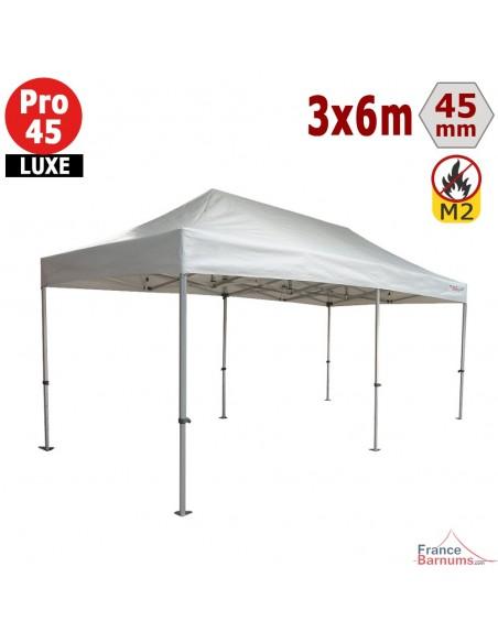 Barnum pliant - Stand pliant Alu Pro 45 LUXE M2 3mx6m BLANC 380gr/m²