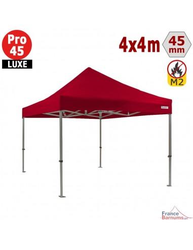Barnum pliant - Stand pliant Alu Pro 45 LUXE M2 4mx4m ROUGE 380gr/m²