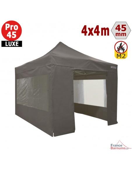 Barnum pliant - Stand pliant Alu Pro 45 LUXE M2 4mx4m TAUPE + Pack Fenêtres 380gr/m²