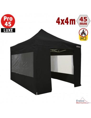 Barnum pliant - Stand pliant Alu Pro 45 LUXE M2 4mx4m NOIR + Pack Fenêtres 380gr/m²