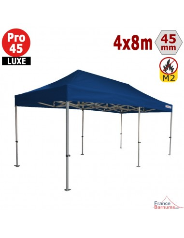Barnum pliant - Stand pliant Alu Pro 45 LUXE M2 4mx8m BLEU 380gr/m²