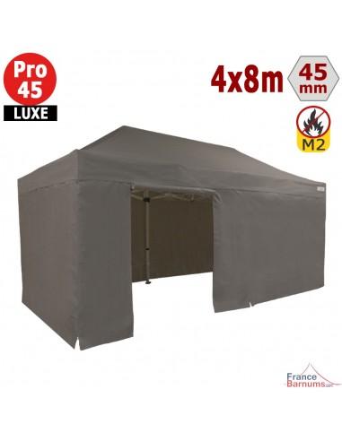 Barnum pliant - Stand pliant Alu Pro 45 LUXE M2 4mx8m TAUPE + Pack Côtés 380gr/m²