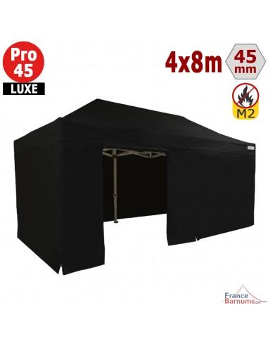 Barnum pliant - Stand pliant Alu Pro 45 LUXE M2 4mx8m NOIR + Pack Côtés 380gr/m²