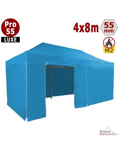 barnum pliant 4x8m avec cotés bleu ciel