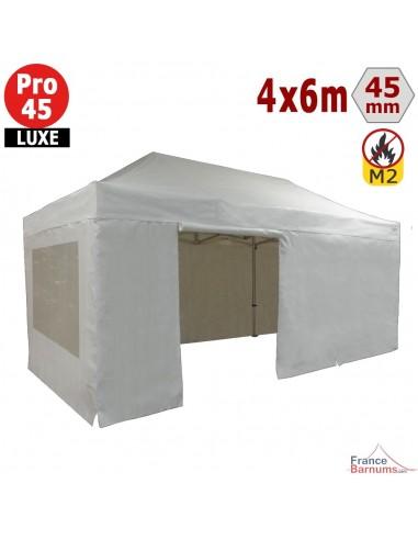 Barnum pliant - Stand pliant Alu Pro 45 LUXE M2 4mx6m BLANC + Pack Fenêtres 380gr/m²
