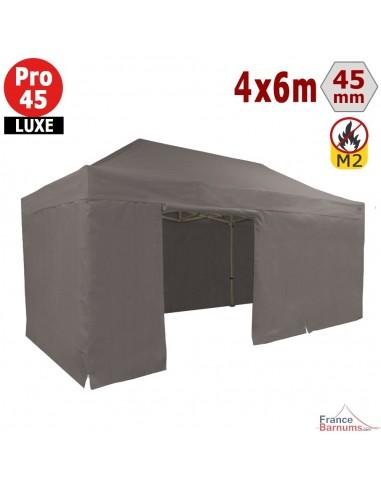 Barnum pliant - Stand pliant Alu Pro 45 LUXE M2 4mx6m TAUPE + Pack Côtés 380gr/m²