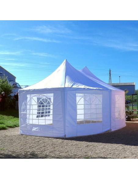 Tente de réception OCTOGONALE ECO en Polyester de 7m x 5m avec Tubes de 34mm et de 0,8mm d'épaisseur