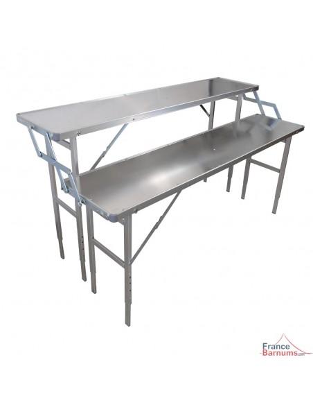 Présentoir de marché à 2 étages en aluminium