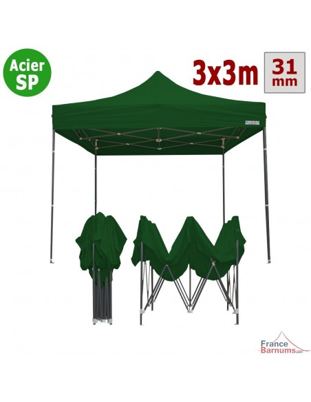 Barnum Acier Semi Pro Vert 3x3m
