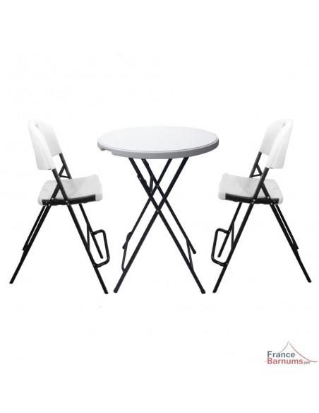 Lot de 2 chaises hautes pliantes pour mange-debout en polyéthylène moulé haute densité