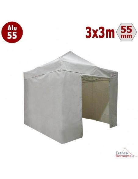 Barnum pliant Alu 55 blanc 3x3m avec murs pleins