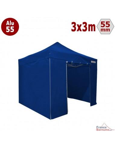 Barnum pliant Alu 55 bleu 3x3m avec murs pleins
