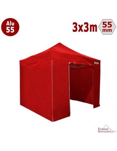 Barnum pliant Alu 55 rouge 3x3m avec murs pleins
