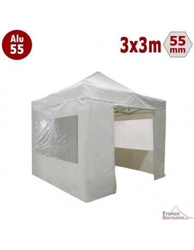 Barnum pliant Alu 55 blanc 3x3m avec murs fenetres