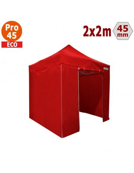 Barnum pliant - Tente pliante Alu Pro 45 ECO 2mx2m ROUGE avec Pack 4 Côtés