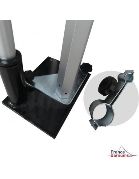 Support oriflamme avec base et connecteur de barnum pliant