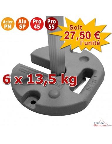 Pack de 6 POIDS ACIER 14KG pour barnum Acier Premium, Alu Semi-Pro, Pro 45 et Pro 55