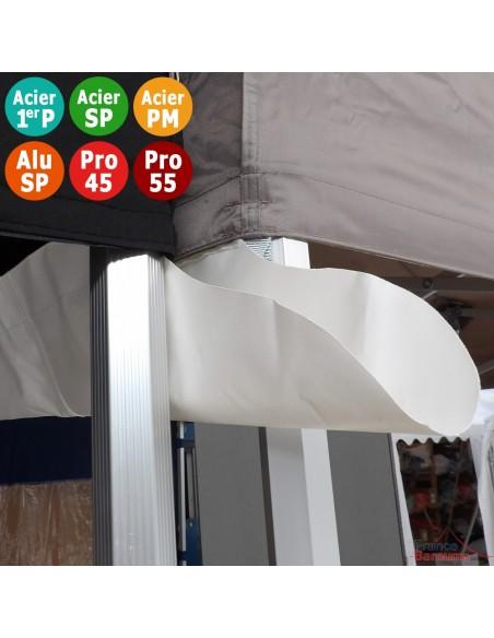 Gouttière en Polyester 380gr/m² de 4m pour tente pliante à fixer par bandes de velcro sur les bandeaux de la bâche de toit